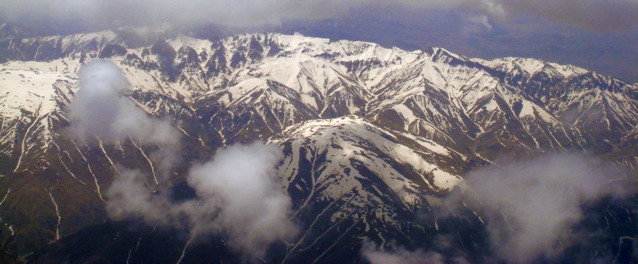 Aerial view of the Hindu Kush of Afghanistan