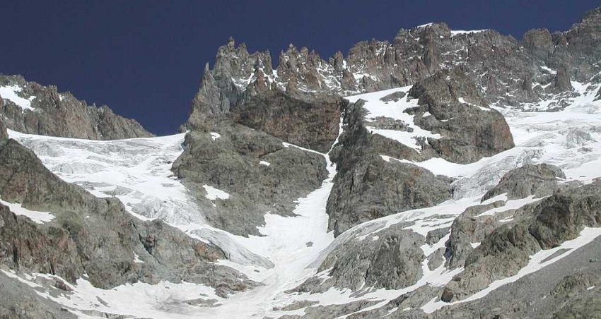 West Face of Barre des Ecrins ( 4102 metres ) in the French Alps
