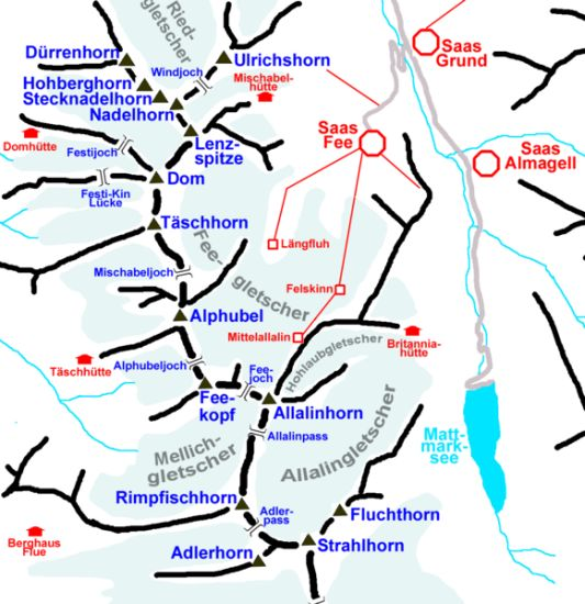 Location Map of Saas Fe and Saas Grund