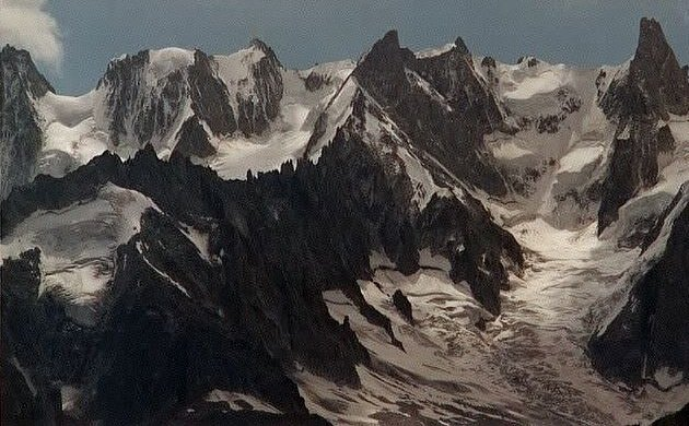 Rochefort Ridge and Dent du Geant in the Mont Blanc Massif