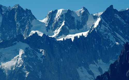 Rochefort Ridge and Grand Jorasses in the Mont Blanc Massif