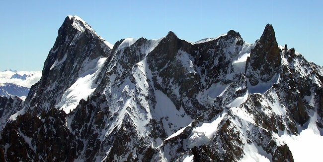 Rochefort Ridge between Grand Jorasses and Dent du Geant in the Mont Blanc Massif
