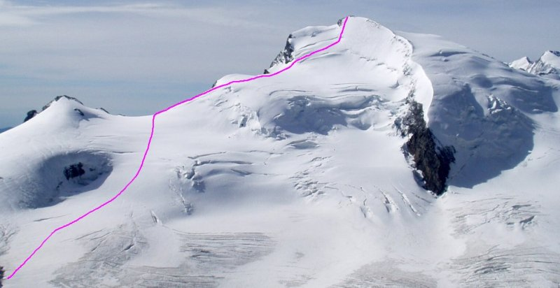 Ascent Route for Strahlhorn ( 4190 metres ) in the Zermatt Region of the Swiss Alps