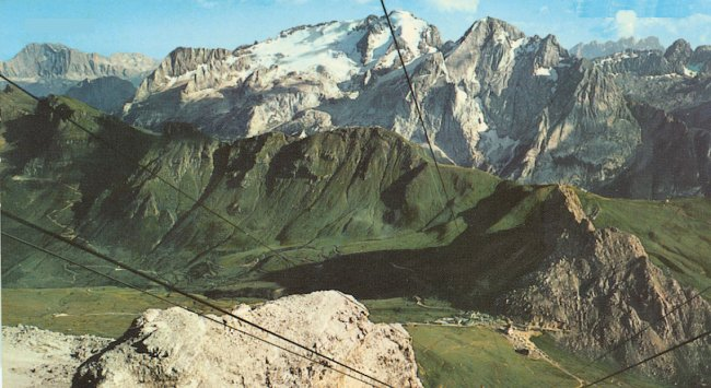 Passo Pordoi and Marmolada in the Italian Dolomites