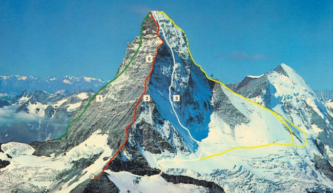 Ascent routes on the Matterhorn ( 4484 metres ) in the Zermatt Region of the Swiss Alps