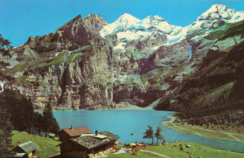 Blumlisalphorn and Frundenhorn from Oeschinensee above Kandersteg