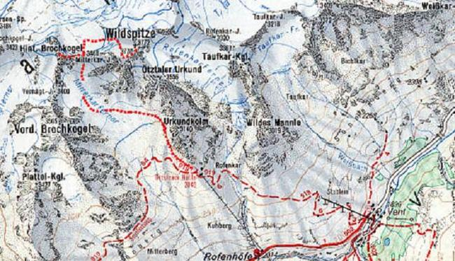 Map for Wildspitze in the Stubai Alps of the Austrian Tyrol