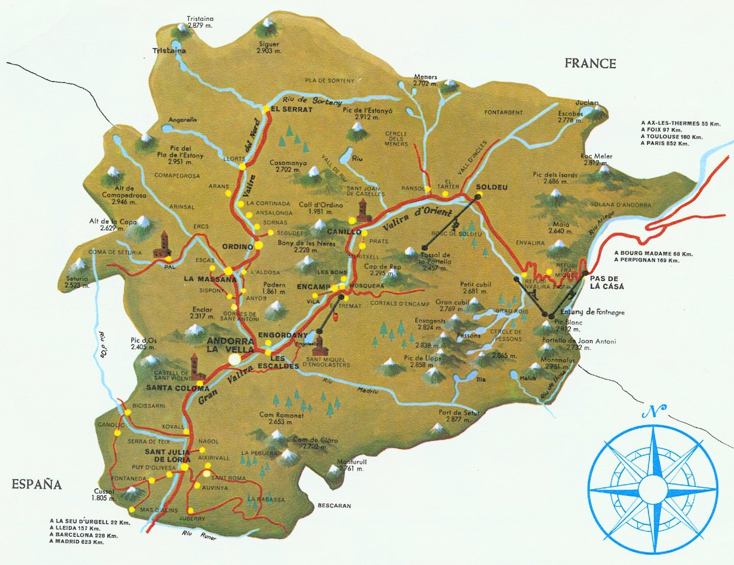 Map of Andorra in the Iberian Peninsula
