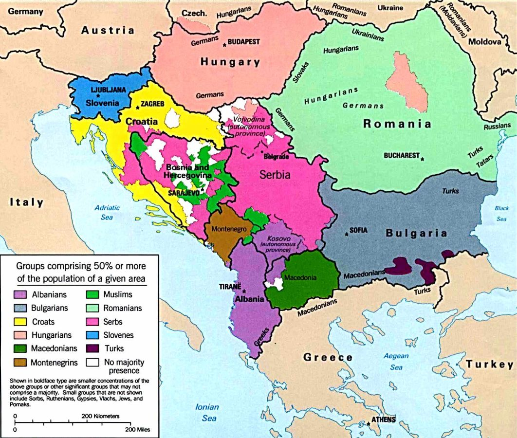 Map of The Balkans Slovenia Croatia Bosnia Serbia Macedonia