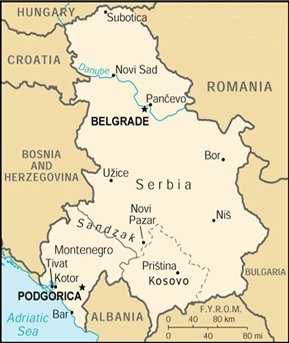 Maps of Serbia Belgrade Montenegro and Kosovo