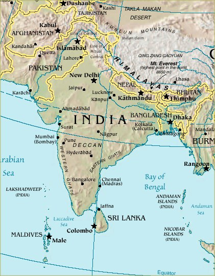 Maps of the Indian Subcontinent political country and physical