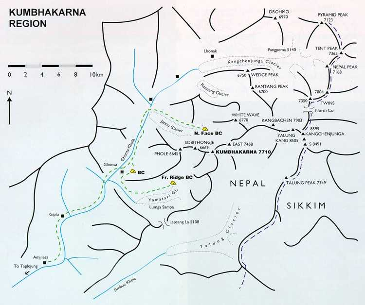 Map of Kangchenjunga Region