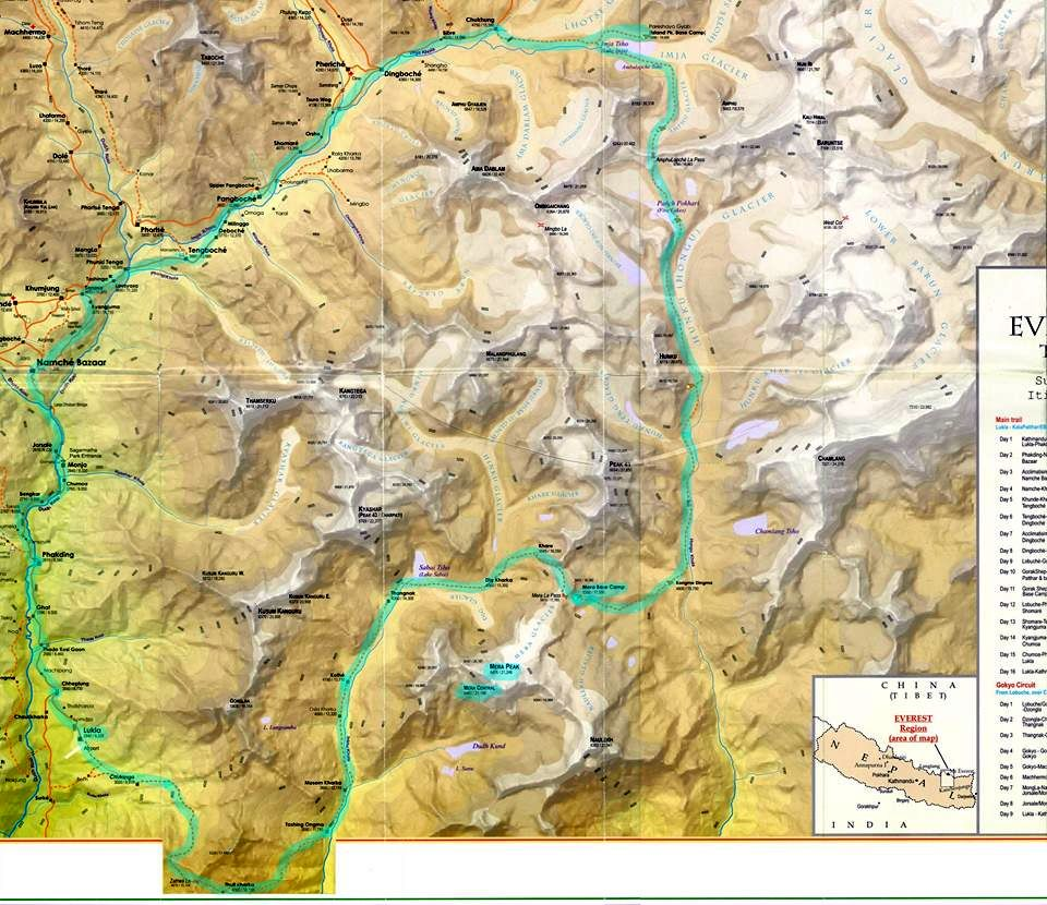 Map of the Hinku and Hongu Valleys in the Khumbu Region of the