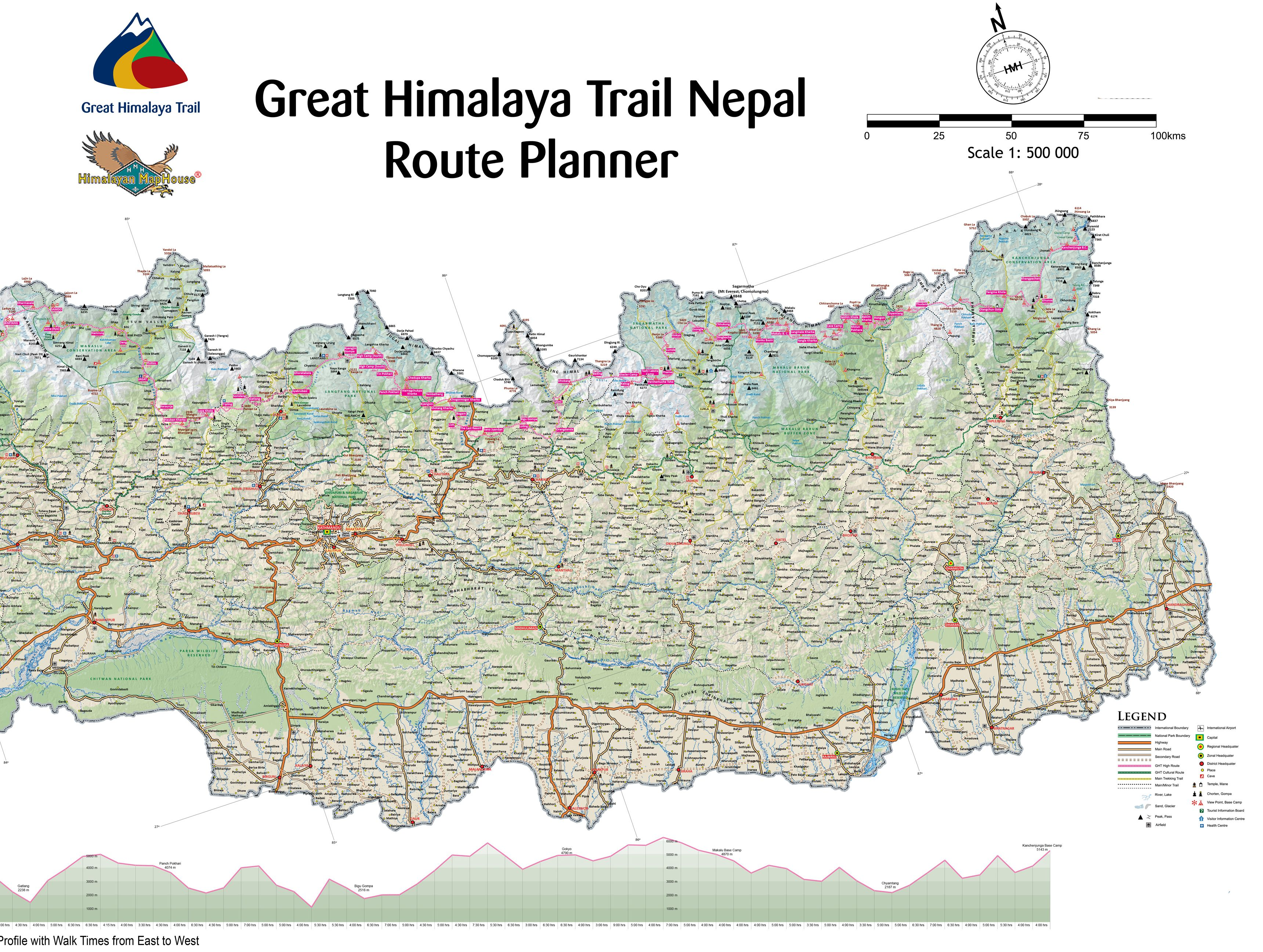 map of the great himalayan trail in eastern nepal