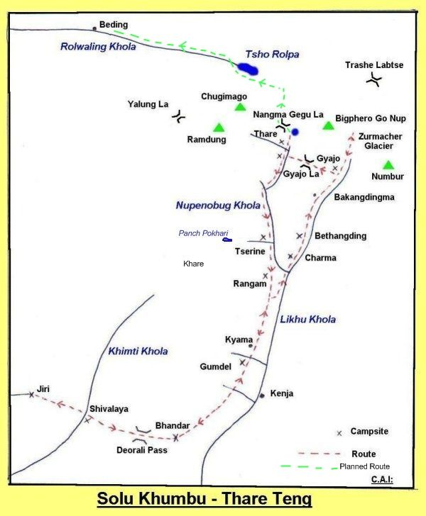 Map of Likhu Valley and Mount Numbur in the Solo Khumbu Region of