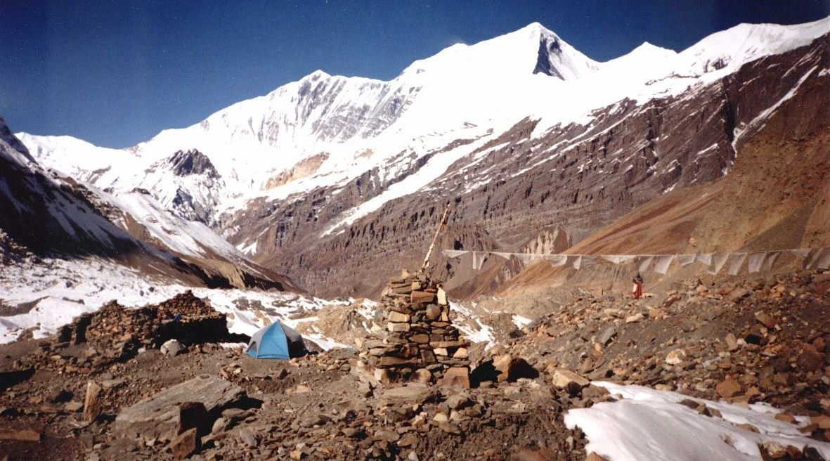 Dhaulagiri II from Base Camp on Chonbarden Glacier