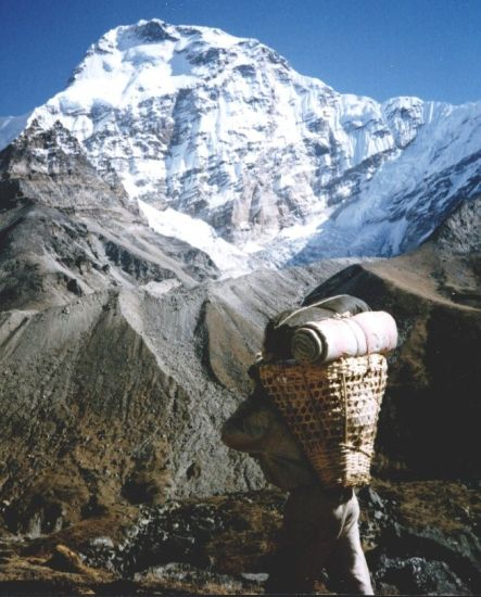 Mt. Chamlang on descent into Hongu Valley
