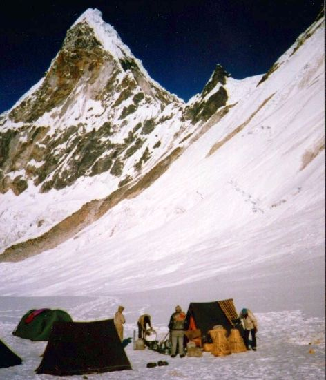 Camp beneath Ama Dablam after crossing Mingbo La
