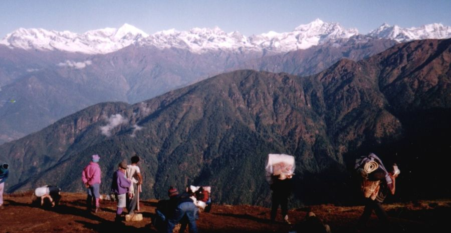Langtang Himal from camp on ridge on route to Jugal Himal