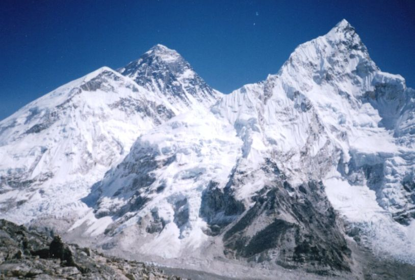 Everest and Nuptse from Kallar Pattar in the Khumbu region of the Nepal Himalaya