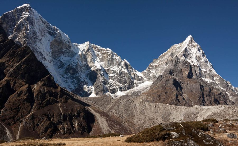Mount Taboche and Mount Cholatse on route to Everest Base Camp