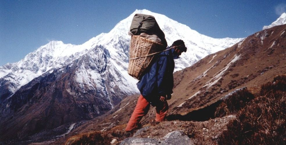 Nepalese porter on route to Yala Peak base camp