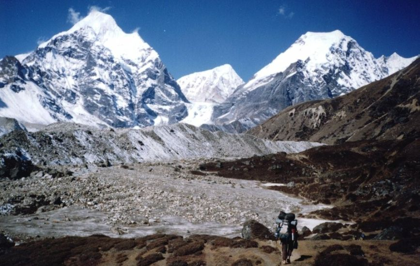Peak 4 ( 6720m ) and Peak 6 ( Mt. Tutse ) in the Barun Valley on the approach to Shershon and the Base Camp for Mount Makalu