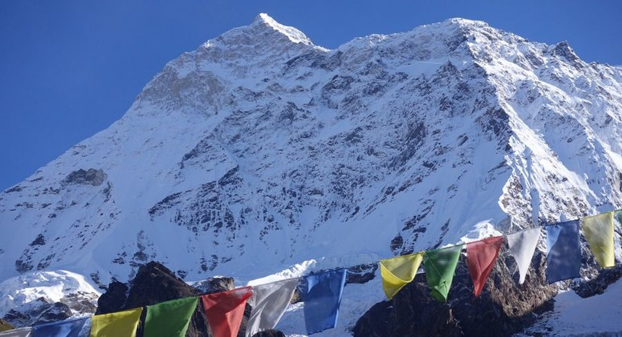 Mount Makalu from above base camp in the Barun Valley