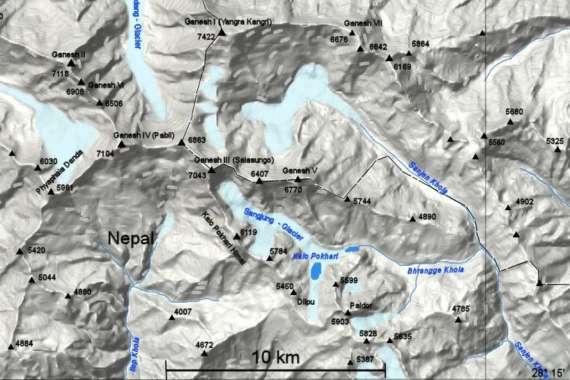 Map of Ganesh Himal