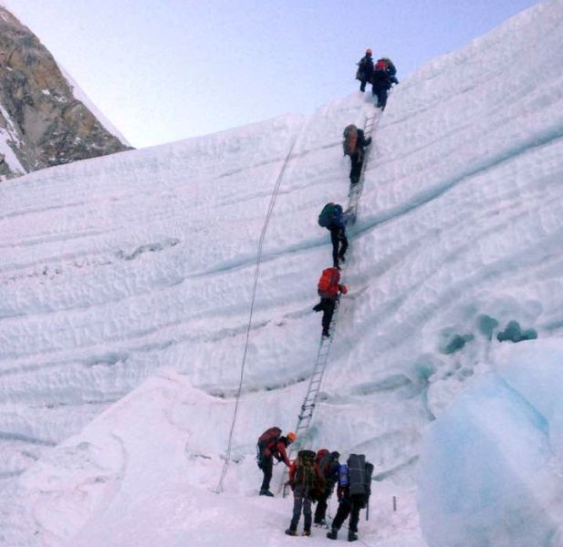 Climbing Ice Wall on Khumbu Glacier