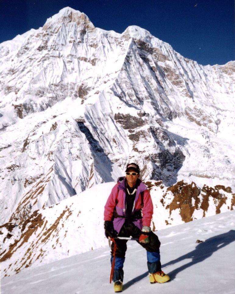Annapurna South Peak from summit of Rakshi Peak above Annapurna Base Camp