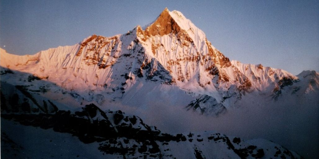 Sunset on Mt.Macchapucchre ( The Fishtail Mountain ) in the Nepal Himalaya