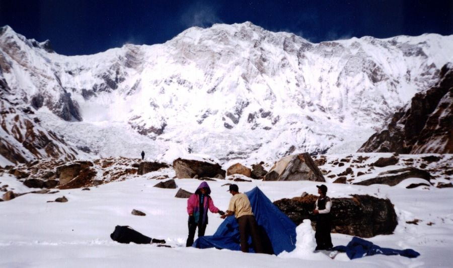 Base Camp in Annapurna Sanctuary beneath Mount Annapurna