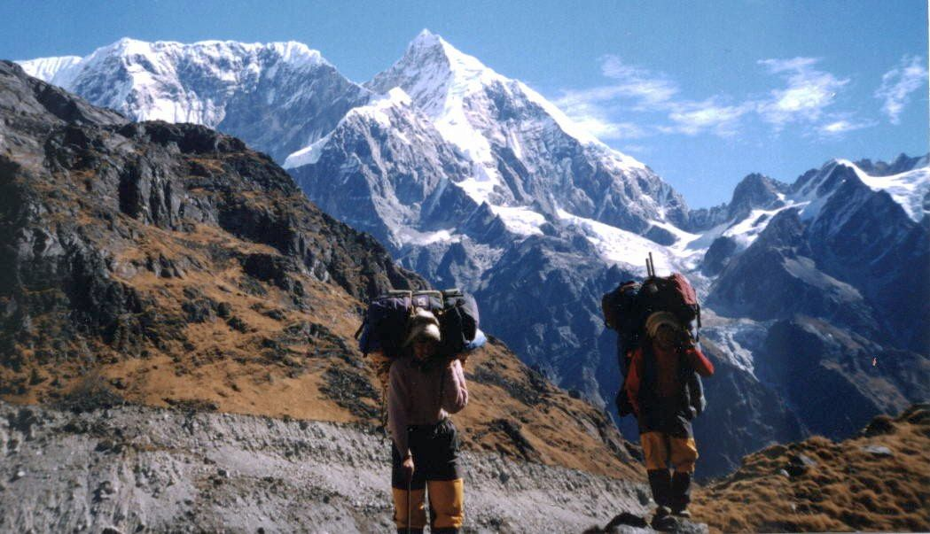 Mount Numbur on ascent to Gyajo La in Solo Khumbu Region of the Nepal Himalaya
