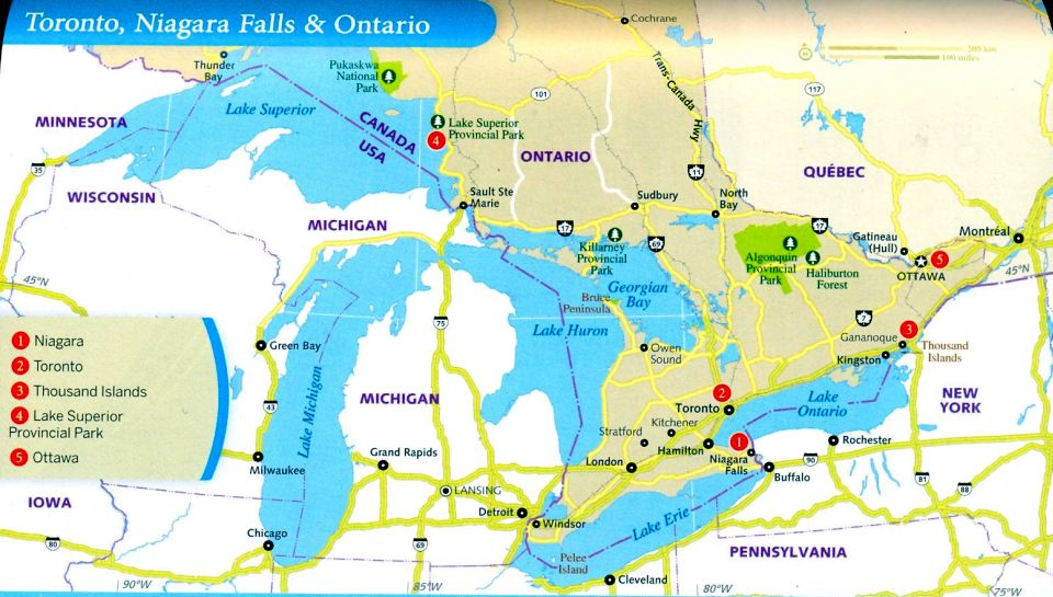 Photographs and location map of the Niagara Horseshoe Falls from