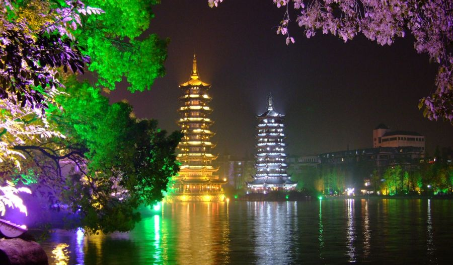 Illuminations at night in Guilin in SW China