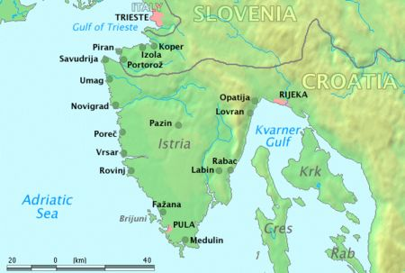 Map of Istrian Peninsula in Croatia
