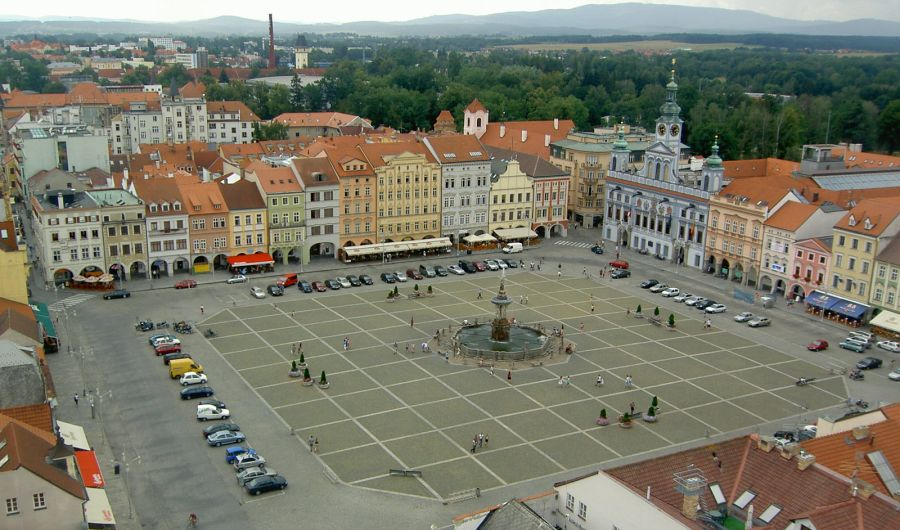Town Square of Ceske Budejovice in the Czech Republic
