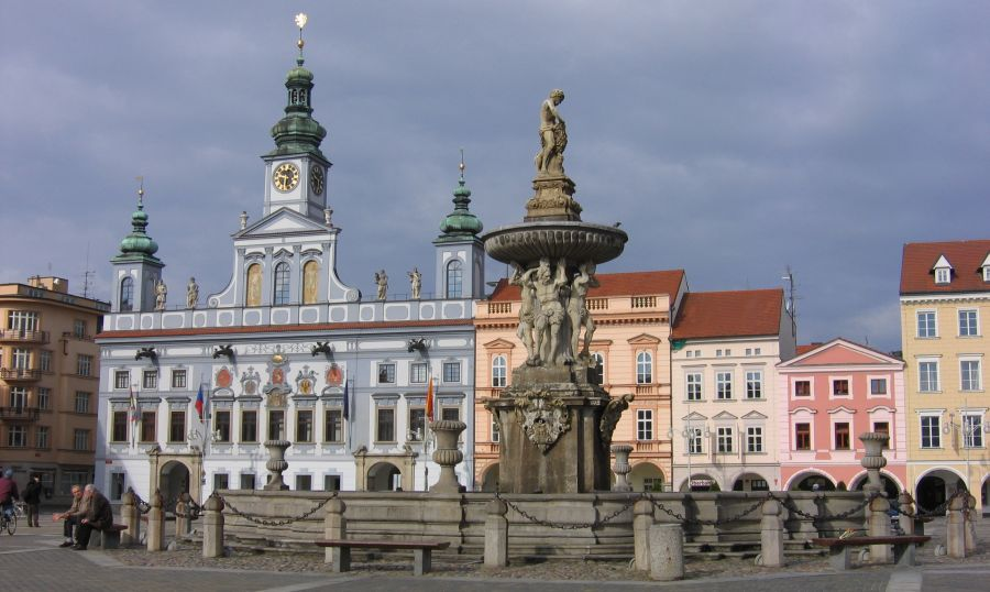 Town Hall and Samson Fountain in Ceske Budejovice in the Czech Republic