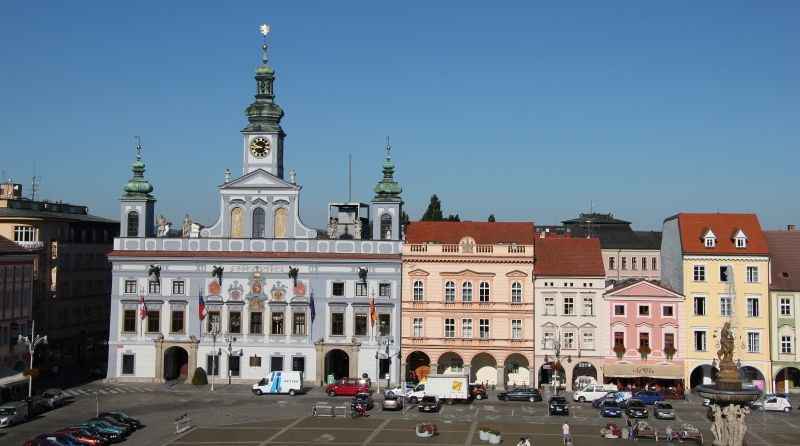 Town Hall in Ceske Budejovice from Grand Hotel Zwon in the Czech Republic
