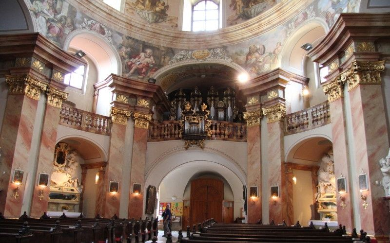 Inside Church of St Margaret at Jaromerice nad Rokytnou Chateau in the Czech Republic