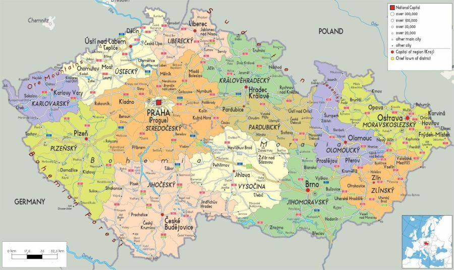 Map of the Czech Republic