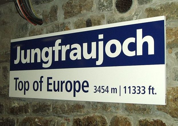 Sign at the Jungfraujoch Railway Station
