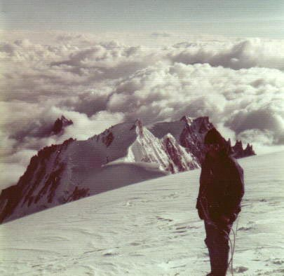 View of Aiguille de Midi from summit of Mont Blanc