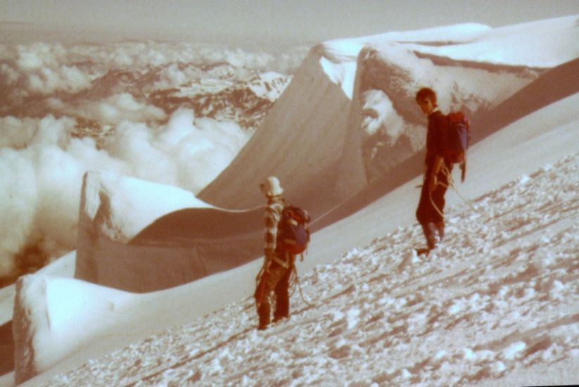 On descent from summit of Mont Blanc