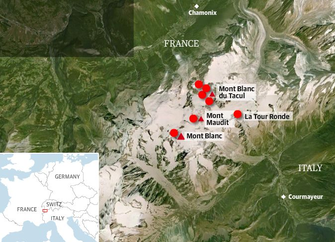 Location map of deaths on the Mont Blanc Massif