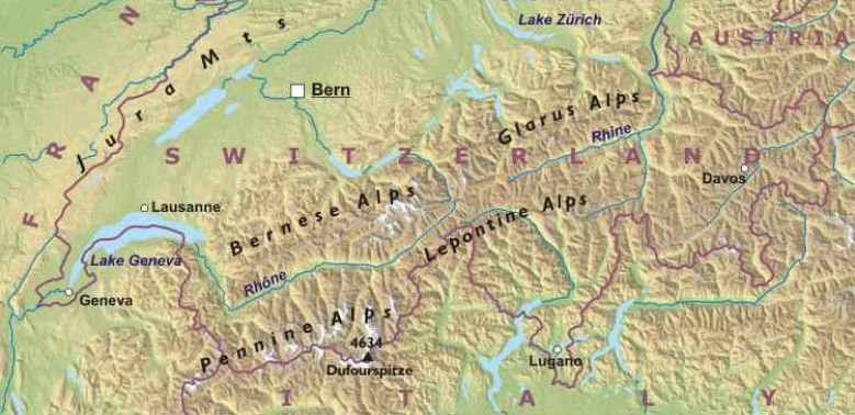 Maps of Switzerland the Alps and the capital city Berne