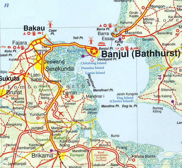 Map Of The Gambia On The Atlantic Coast Of West Africa - Gambia map