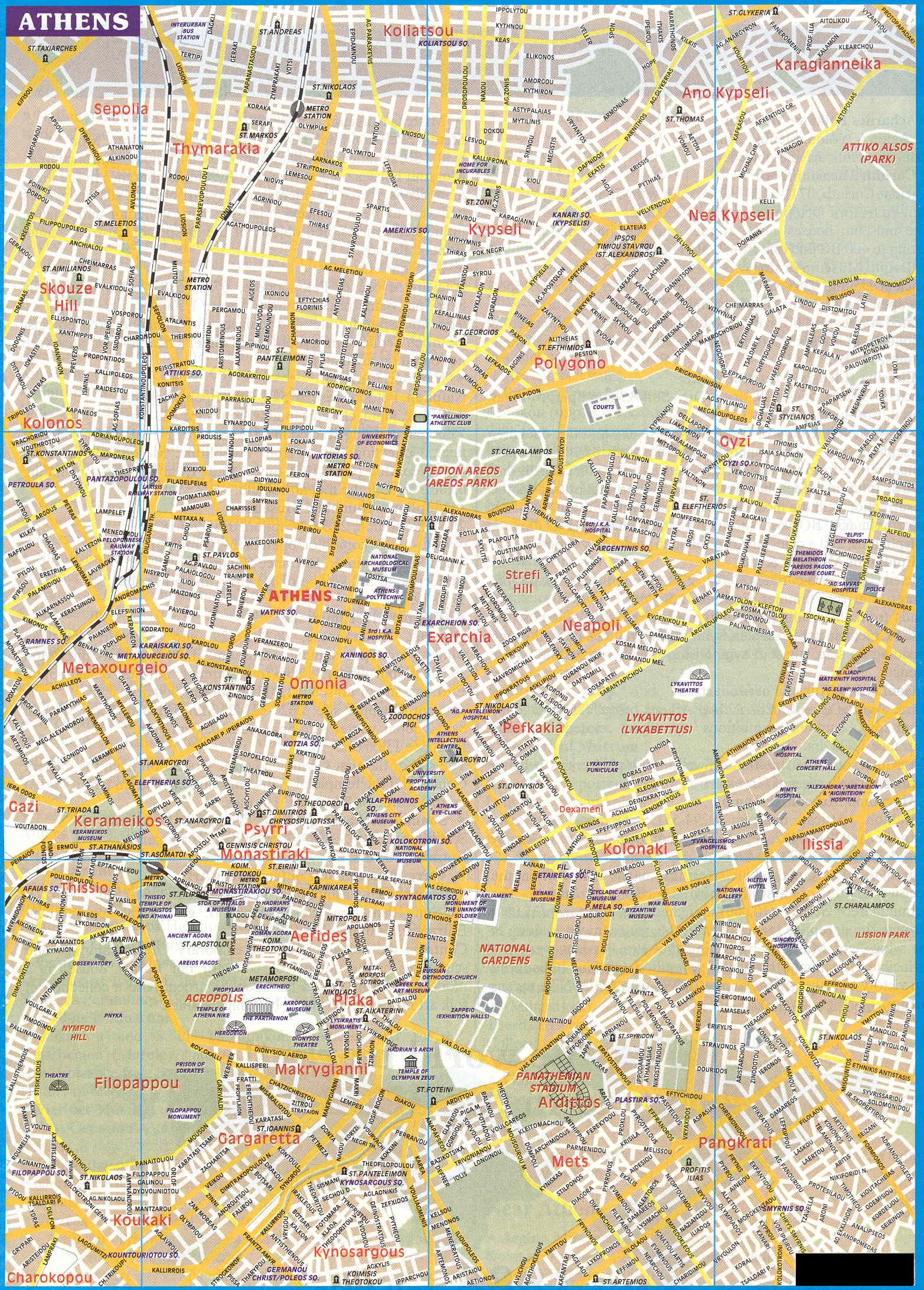 Maps of Greece and the capital city of Athens