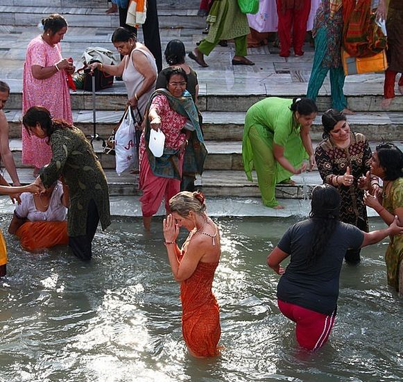 People Bathing in India